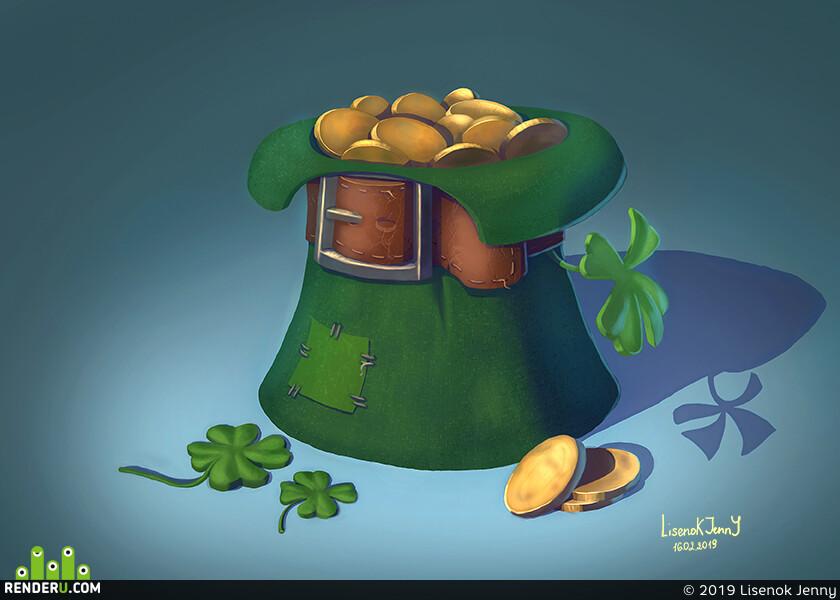 шляпа, монеты, клевер, заплатка, ремень
