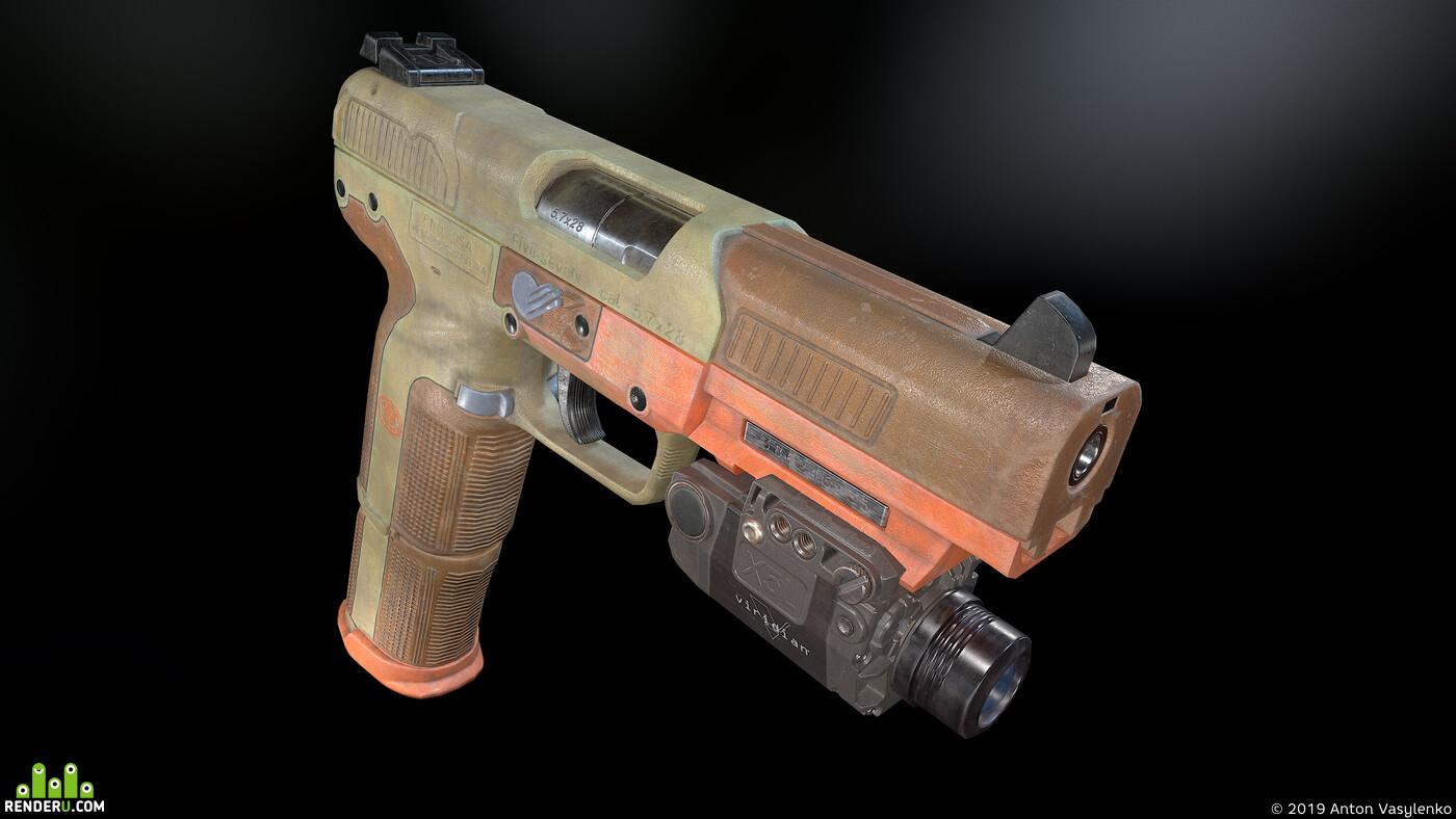 five, seven, gun, weapon, art, 3d, low poly, game, ready, PBR