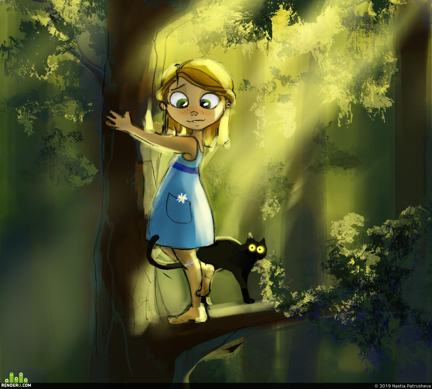 скетч, иллюстрация, детская иллюстрация, приключения, кот, книги