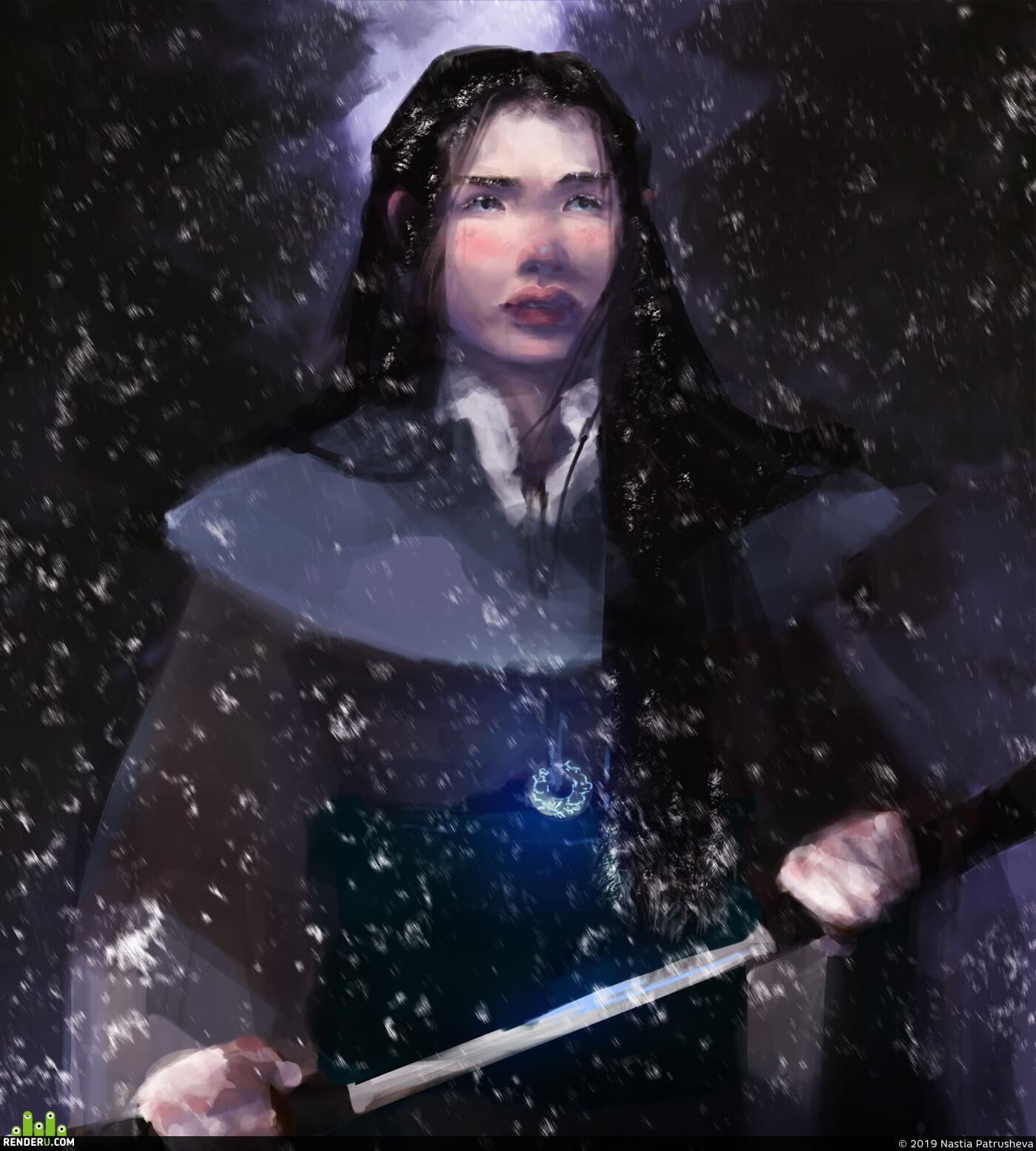 скетч, иллюстрация, портрет, самурай, фентези, Япония, эльф, Катана