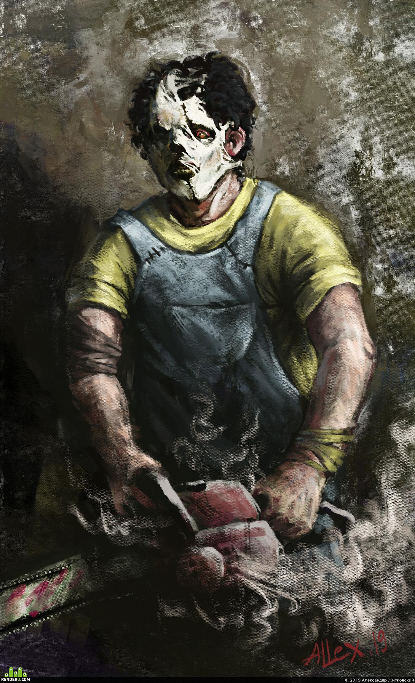 Картун (Cartoon), art, monster, Leatherface