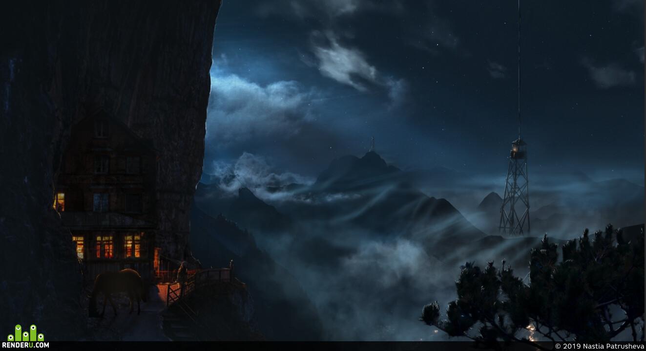 туман, горы, окружение, концепт, ночь, ночное небо