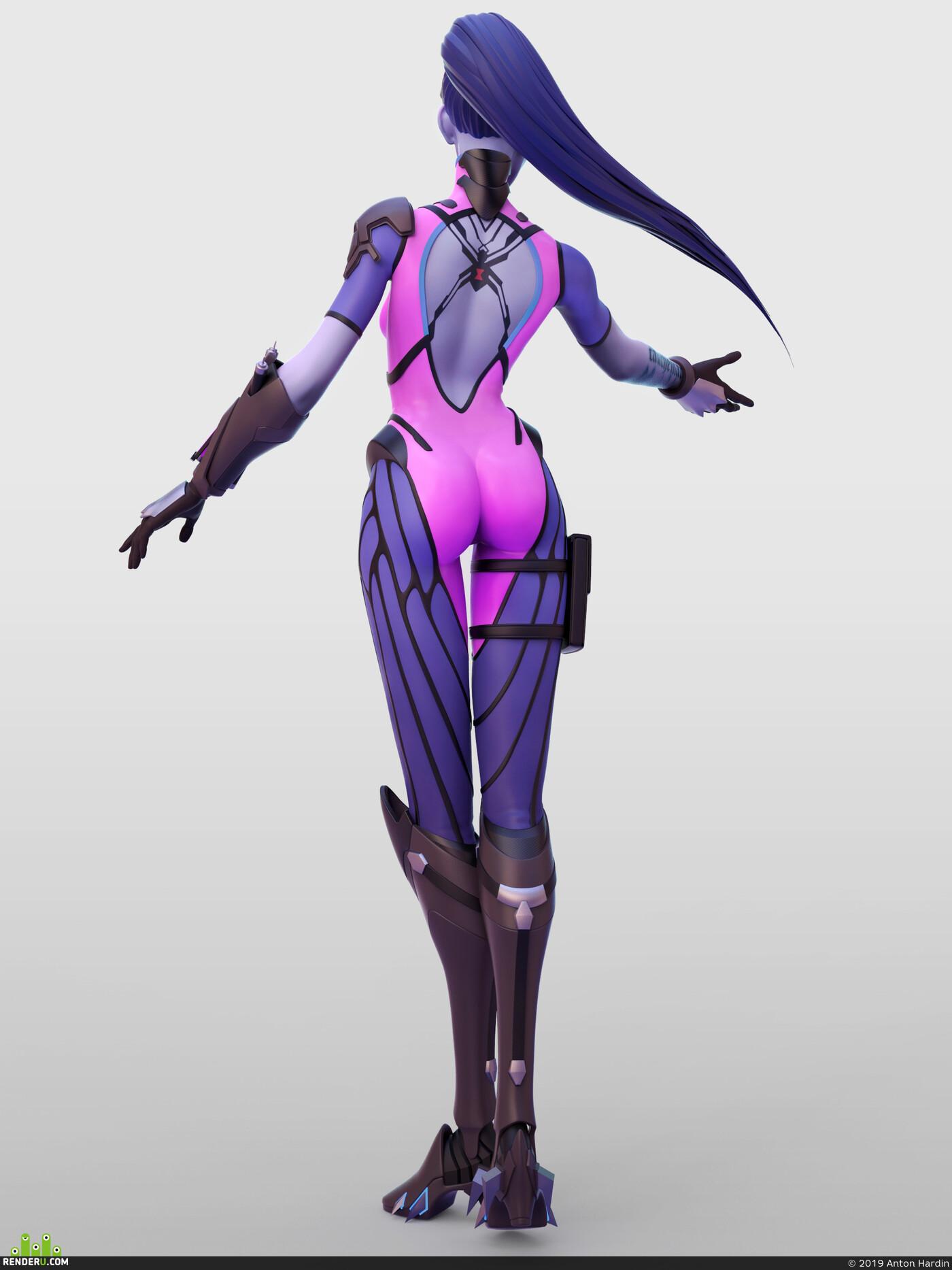Overwatch, widowmaker, Fan art, character, female