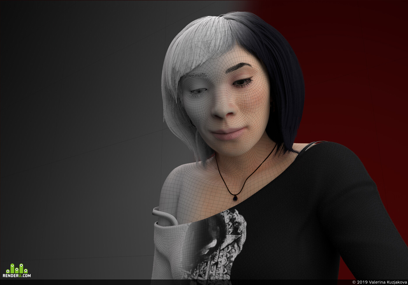 человек, Персонажи, 3d персонажи, портрет, автопортрет, портрет девушки, фотореализм, волосы, Сюрреализм, глаза