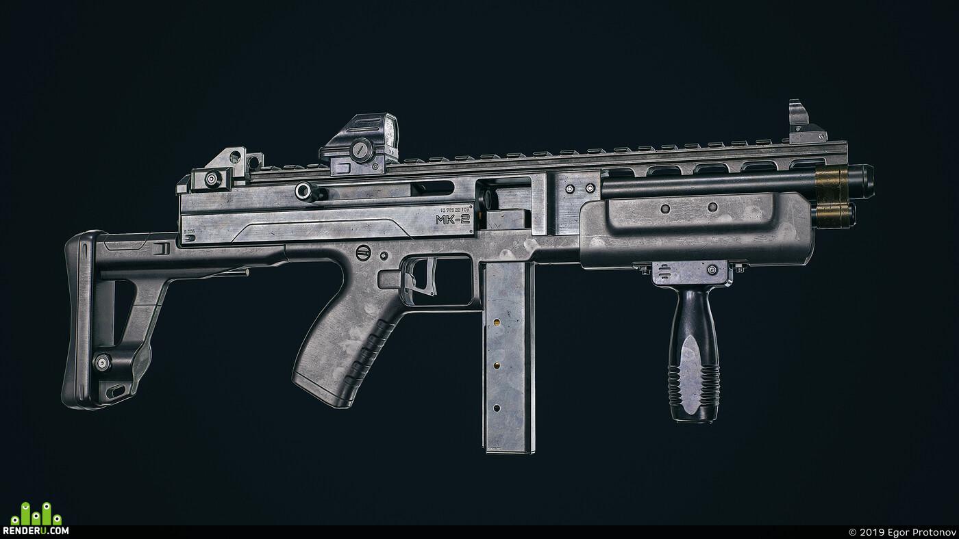 3d, game asset, cg art, Компьютерная графика/CG, weapons Blender3D 2, smg, modeling, Textures & Materials, rendering, gun