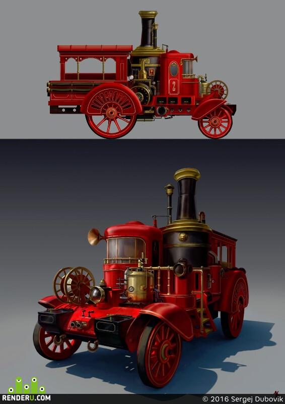 концепт, пожарная машина, стимпанк