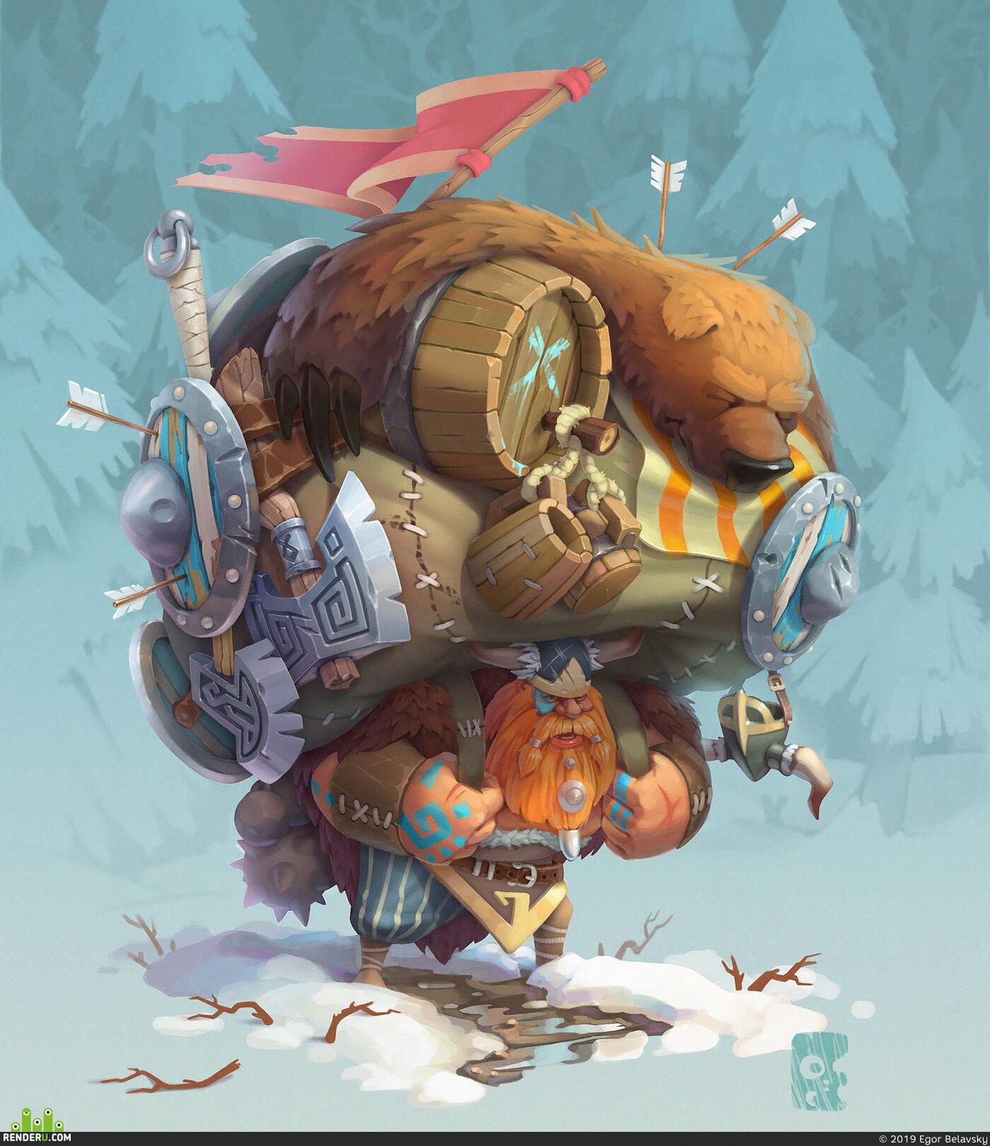 2D art, 2d художник, character2d, viking, axe