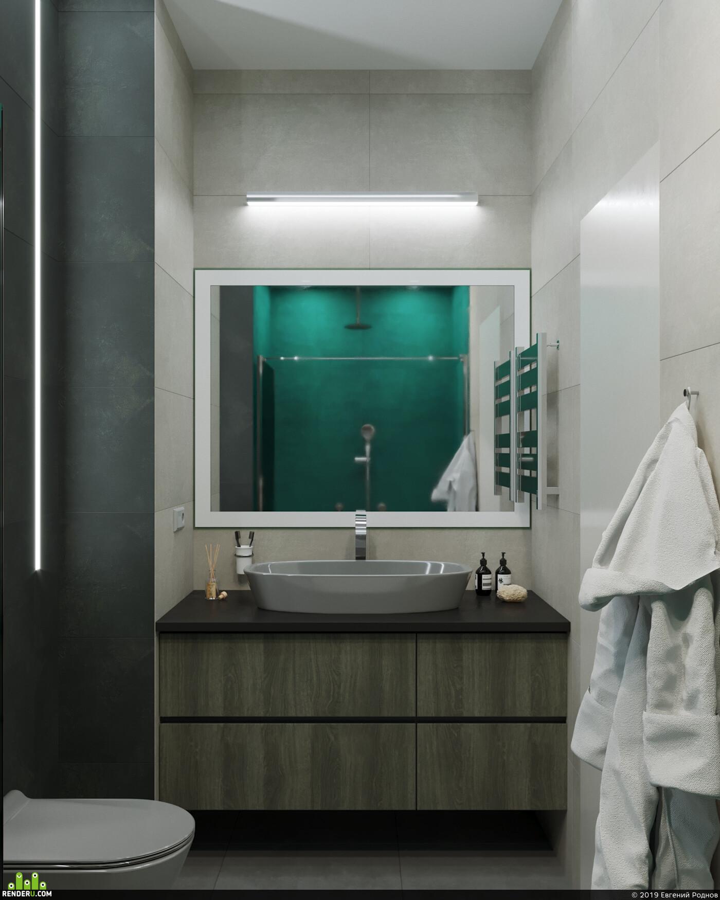 гостиная, кухня, ванная комната, рендерер, коронарендер