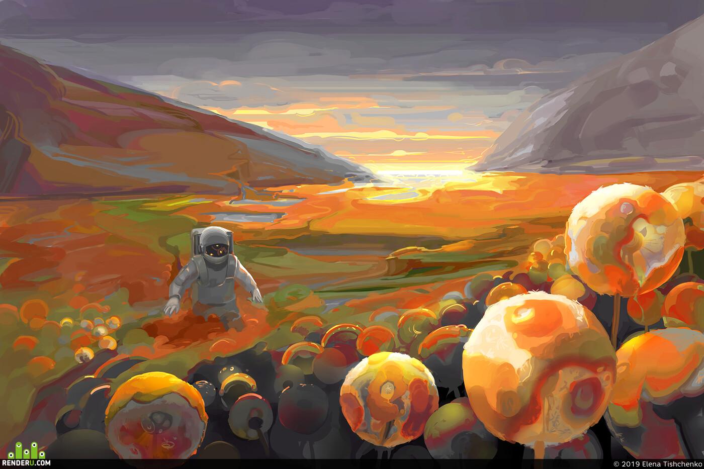 арт, астронавт, Пейзаж