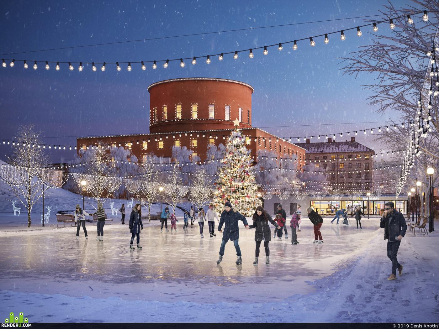 Ice, christmas, Story, denis, rink, skates, tree, holiday, Library, gunnar asplund's librar