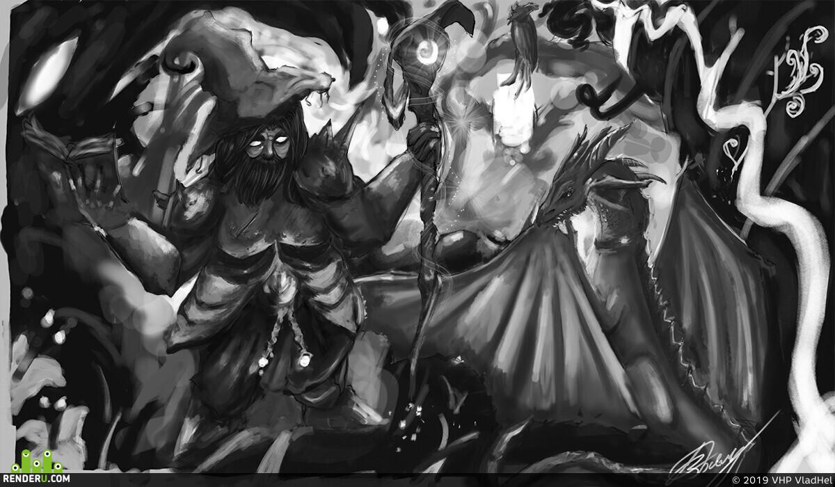 mage, summoner, magicforest, VladHel, illustration, digital2d