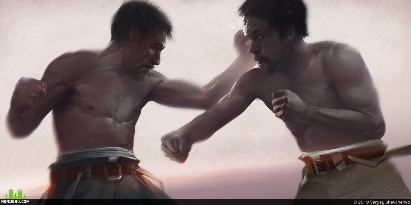 Digital 2D, digital art, 2D art, boxing, fight, mangegenman, torso, illustration, fighting