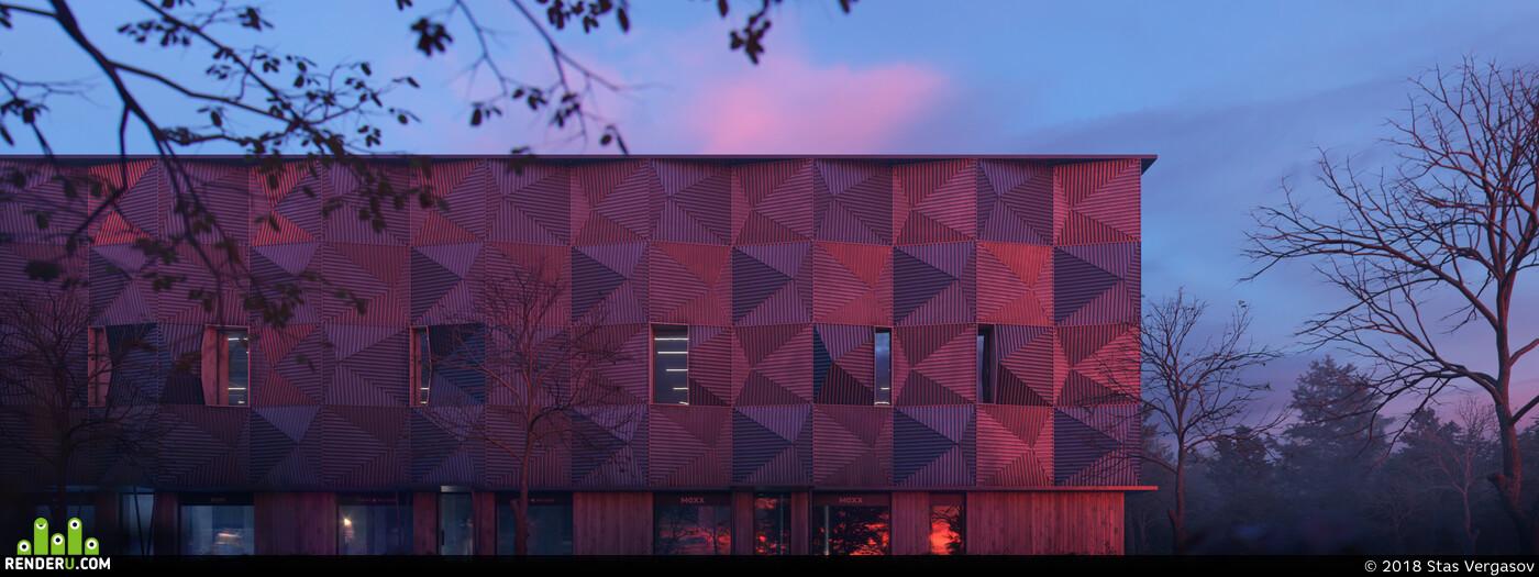 architecture, Exterior, archvis, dusk, sunset, autumn, Fog