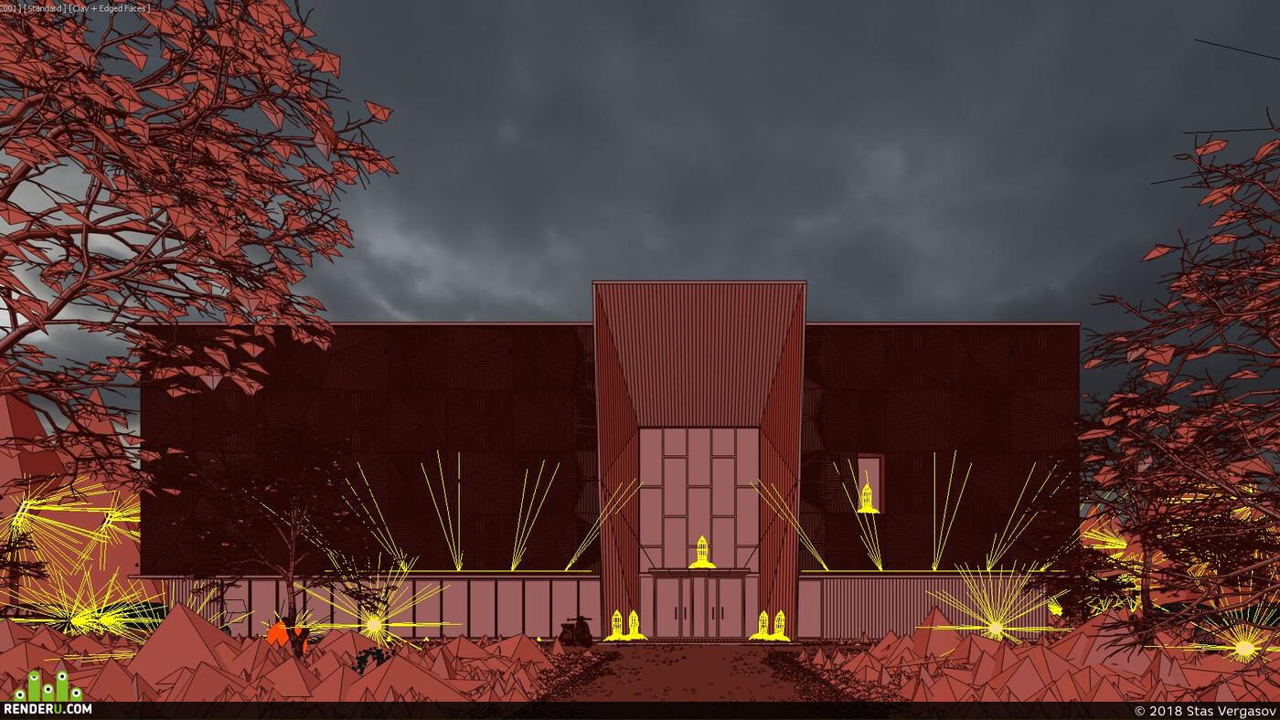Exterior, architecture, archviz, dusk, Fog, umbrella