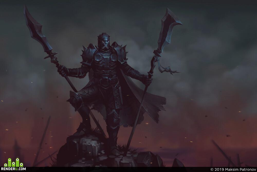 art, illustration, King-Warrior, Fantasy, Dark fantasy, Knights, gameart, games, game, 2dart