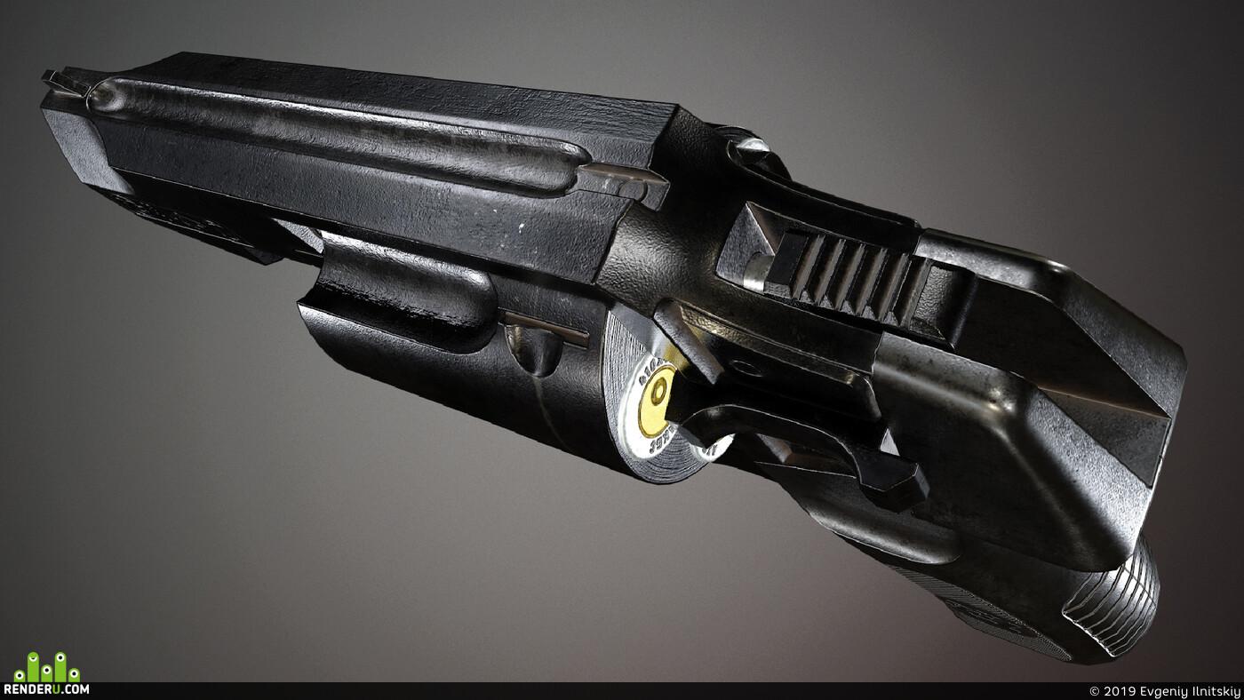 оружее, Game-ready, lowpoly, револьвер