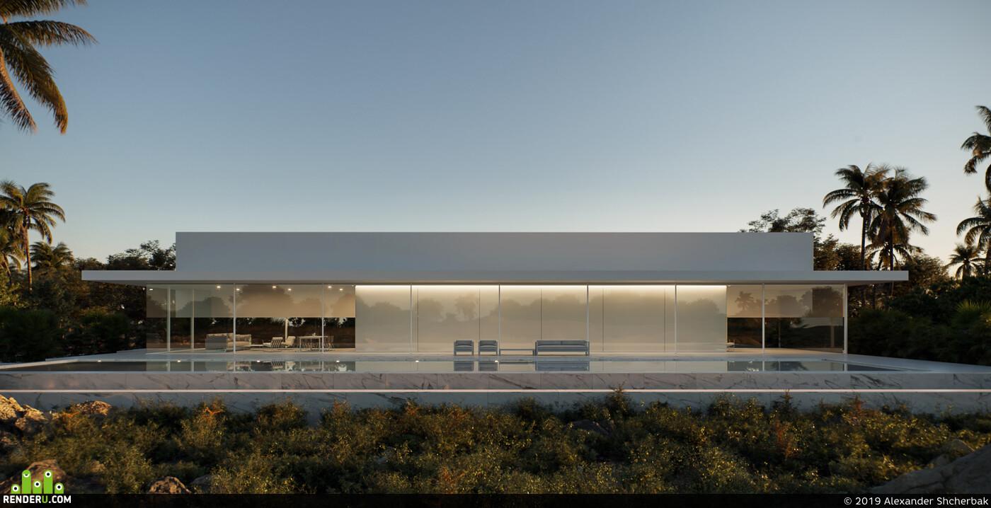 Corona Renderer, 3D Studio Max, FRAN SILVESTRE ARQUITECTOS, villa, minimalism