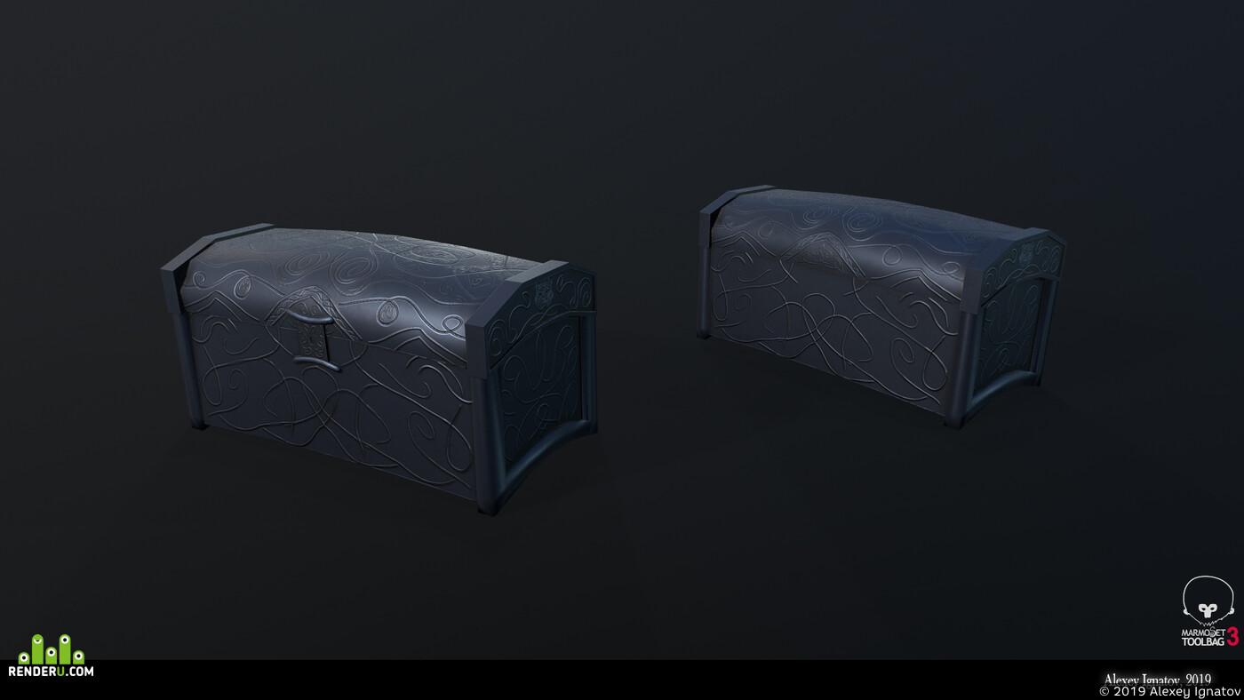 chest, game asset, assets, Skyrim, low-poly