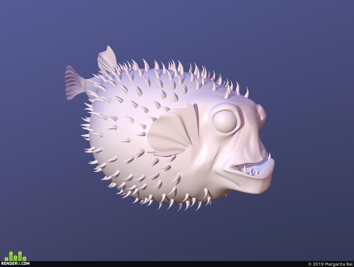 рыба, игровой персонаж, дизайн персонажа, 3d персонажи