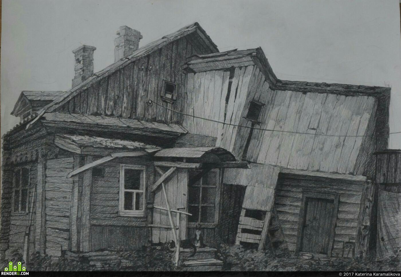 рисунок, дом, Старый дом