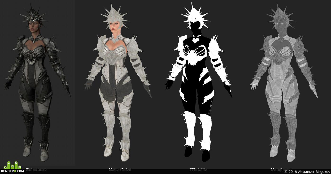 Fantasy, woman warrior, shadow, cave, light, fight, armor