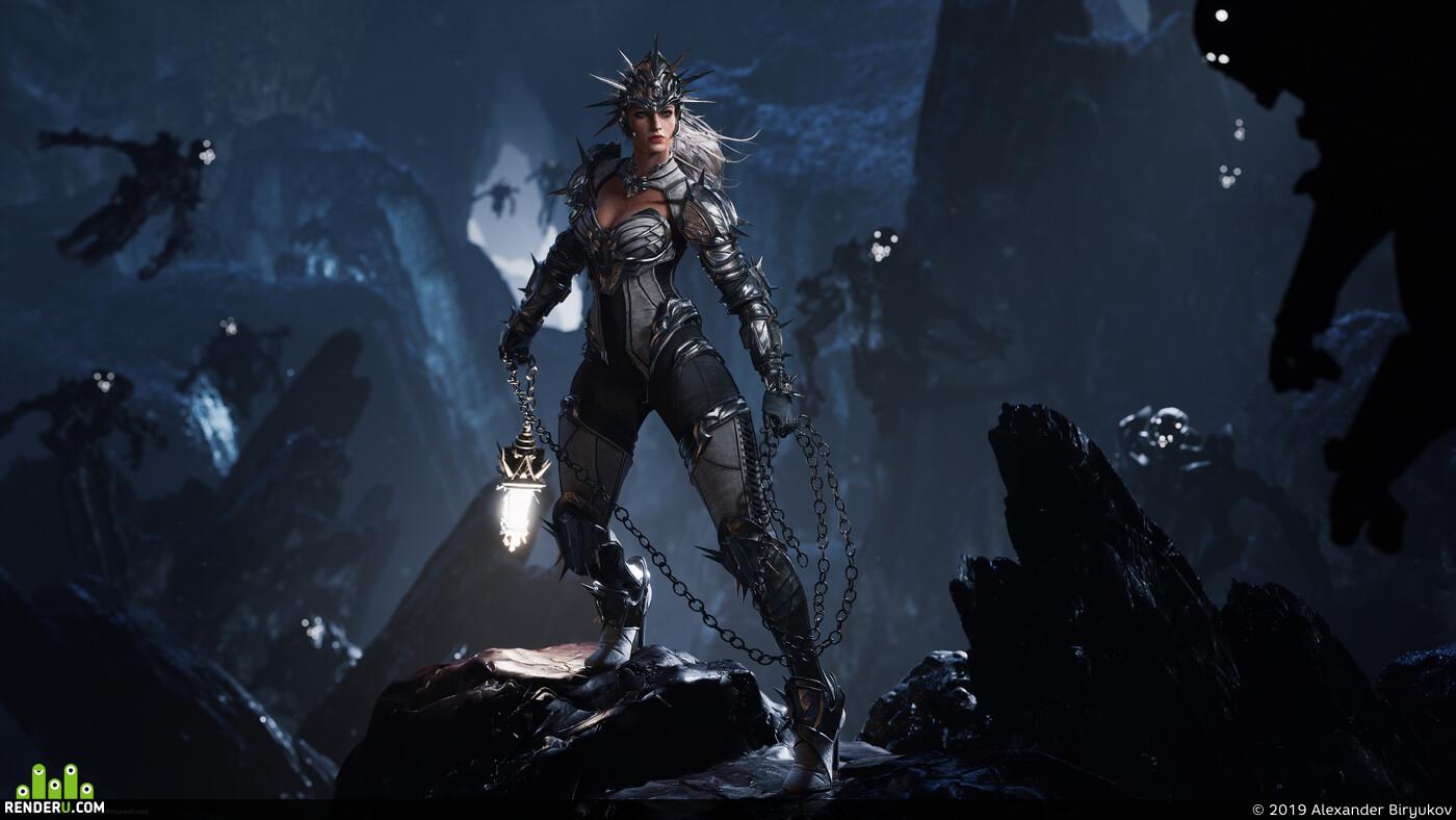 Фэнтези, воительница, 3d воин, пещера, свет, фонарь, женщина, сражение, женскийперсонаж, тень