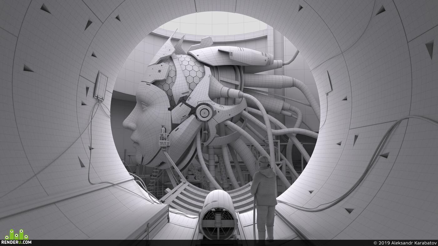 digital 3d, hard surface, environment, sci-fi, robot, Industrial, mechanical