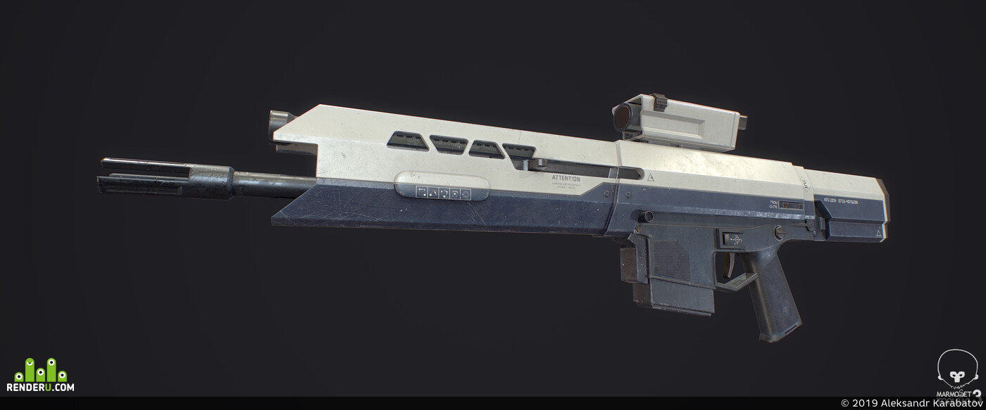 rifle, Oblivion, game, lowpoly, PBR, scifi, hard surface, weapon, realtime
