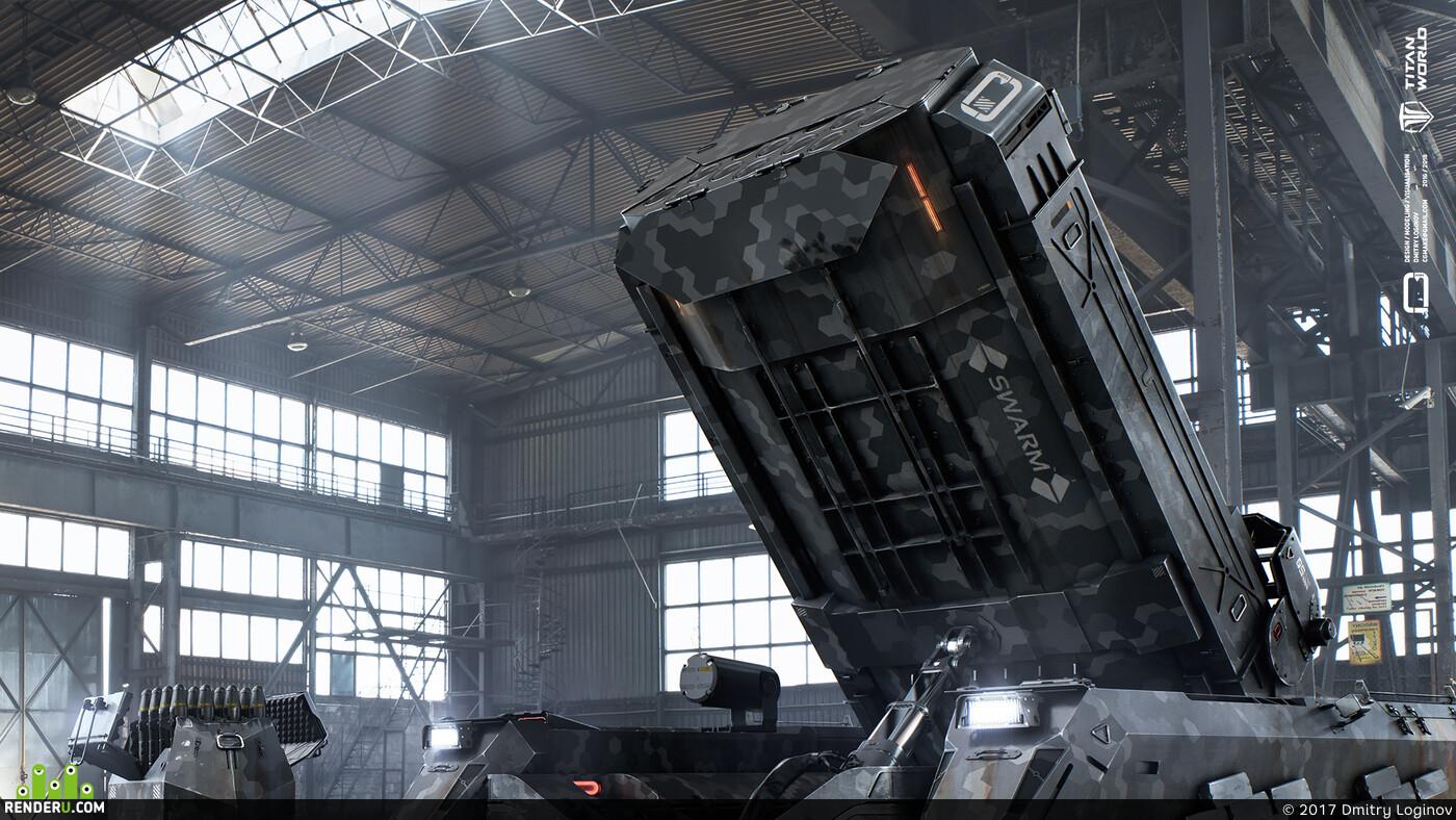 bishop, fire, military, game, unit, 3d, hangar, artillery, Concept Art, sci-fi