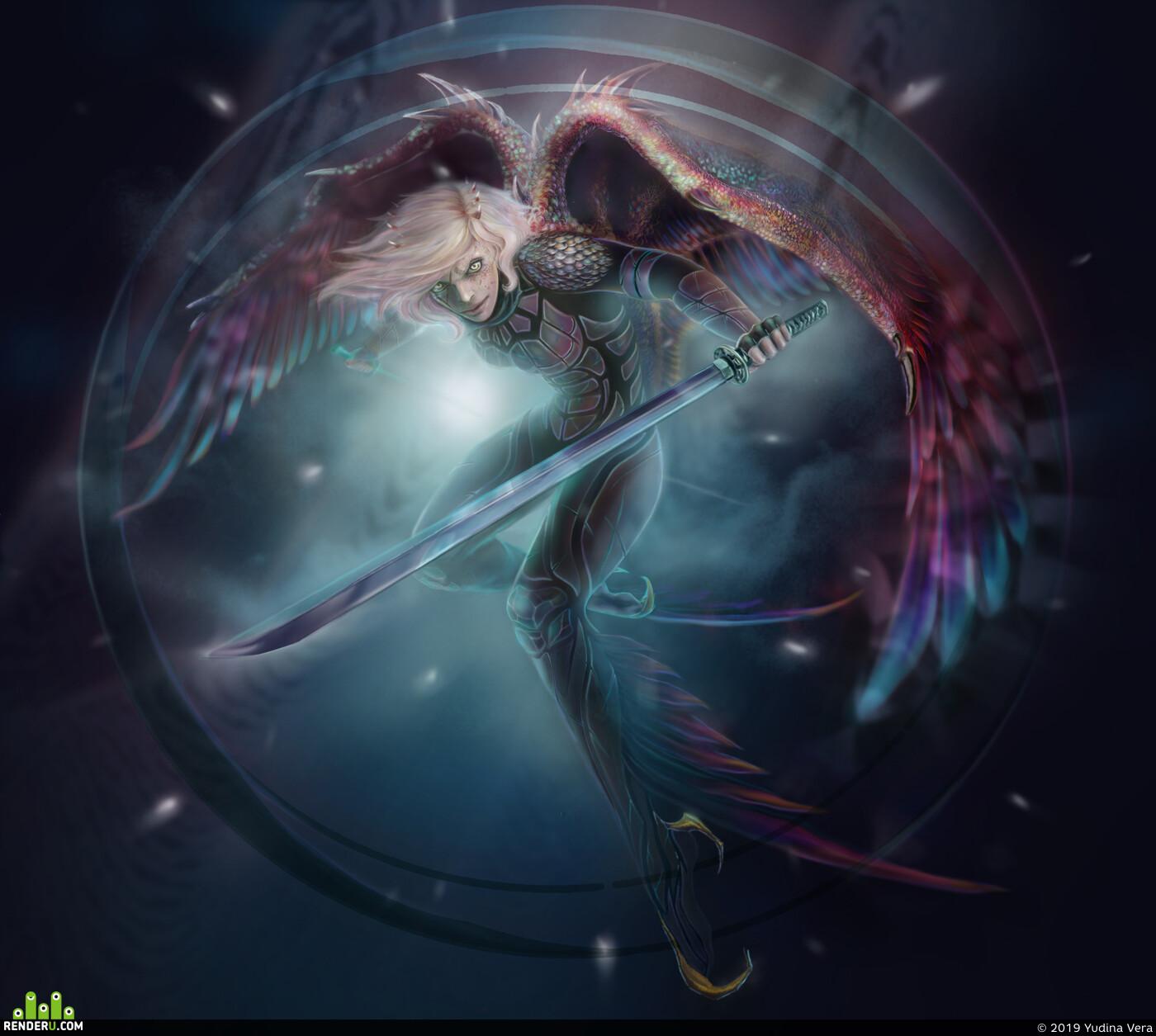 гарпия, крылья, воин, Катана, фэнтэзи, доспехи, Персонажи, женскийперсонаж, меч, Digital 2D