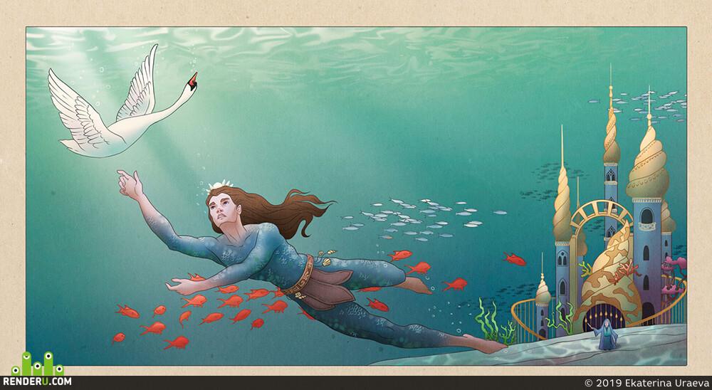 Сказка, море, царевна лебедь, лебедь, любовь