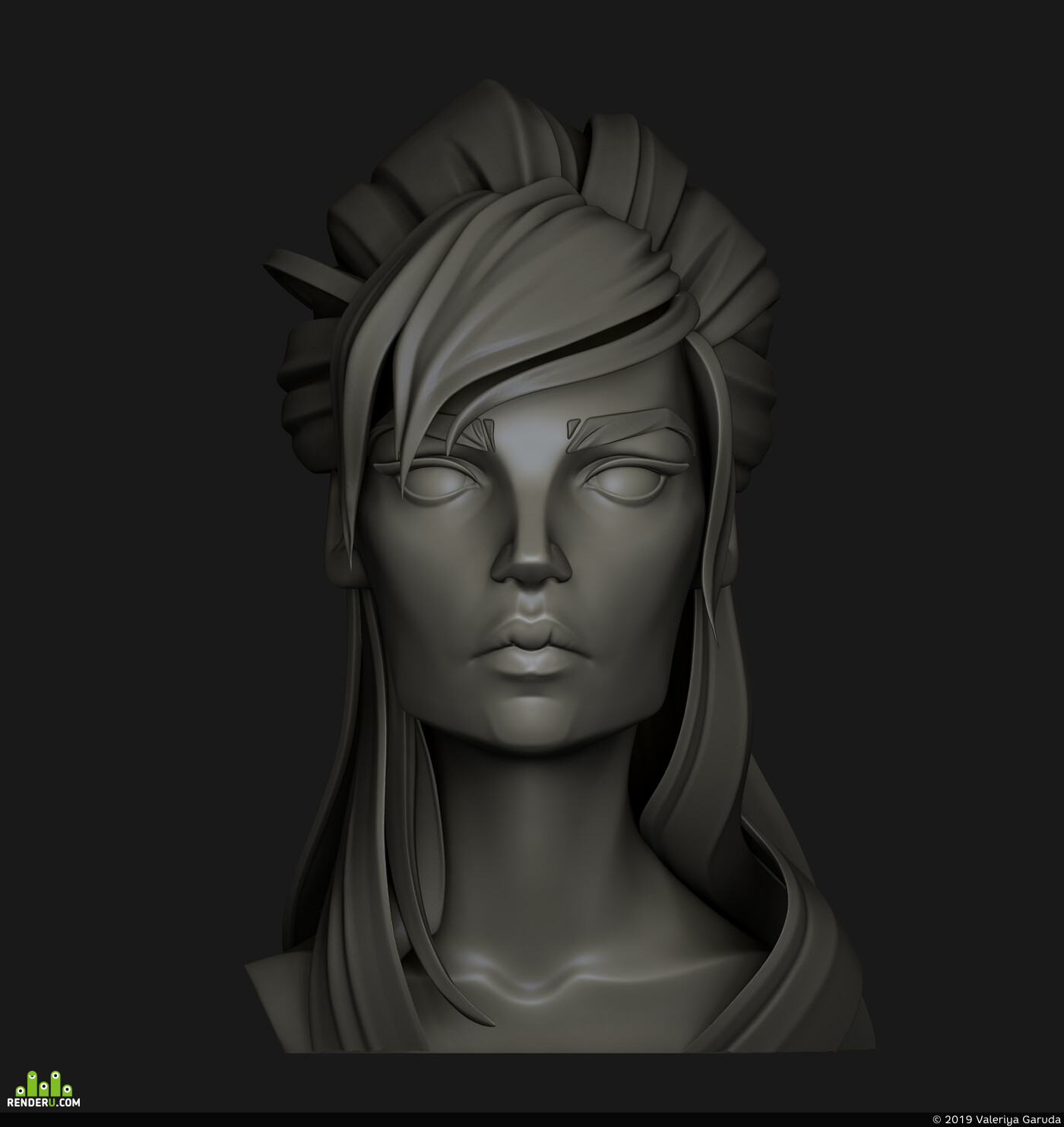 character, 3d character, stylized, woman, girl, female, bust, 3dbust, digital sculpture, zbrushsculpt