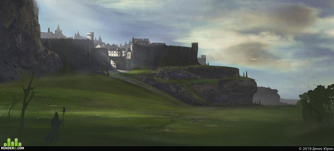 concept-art, castle, landscape, matepainting, environment desigh, architectural conception
