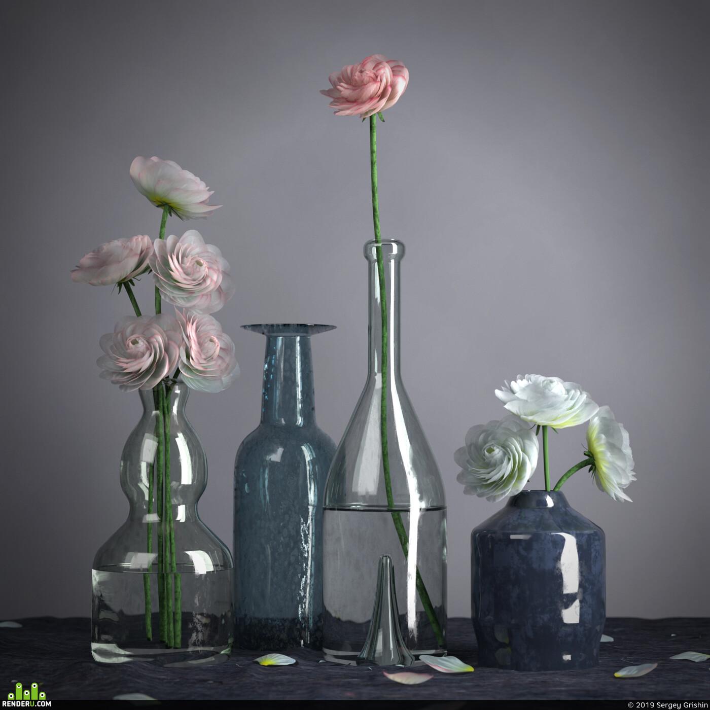 Натюрморт, ваза, стекло, цветы, букет, бутылка, лепесток, лепестки