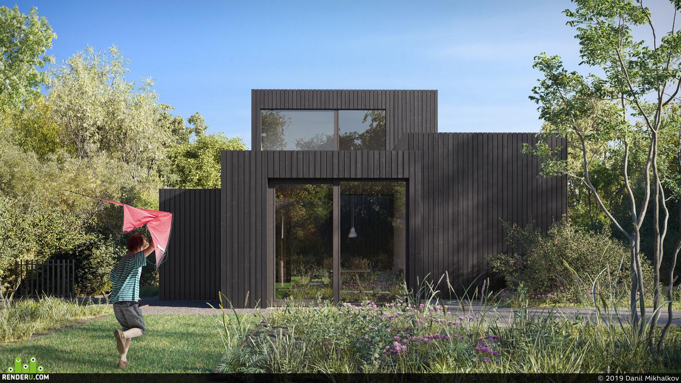 озеро, дом у воды, Деревянный дом, Деревья, ландшафт, Exterior architecture, exteriorrendering, Architectural3Dvisualizer