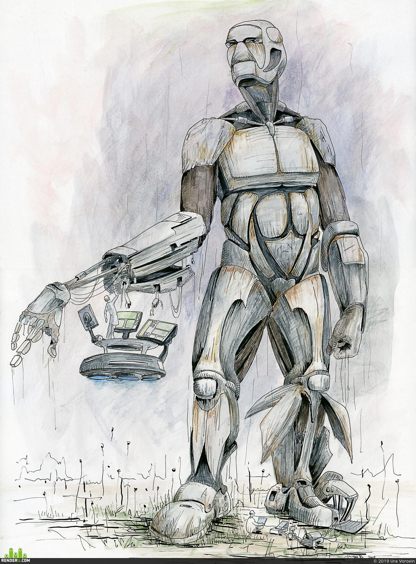 робот, Концепт-арт, иллюстрация, традиционное искусство