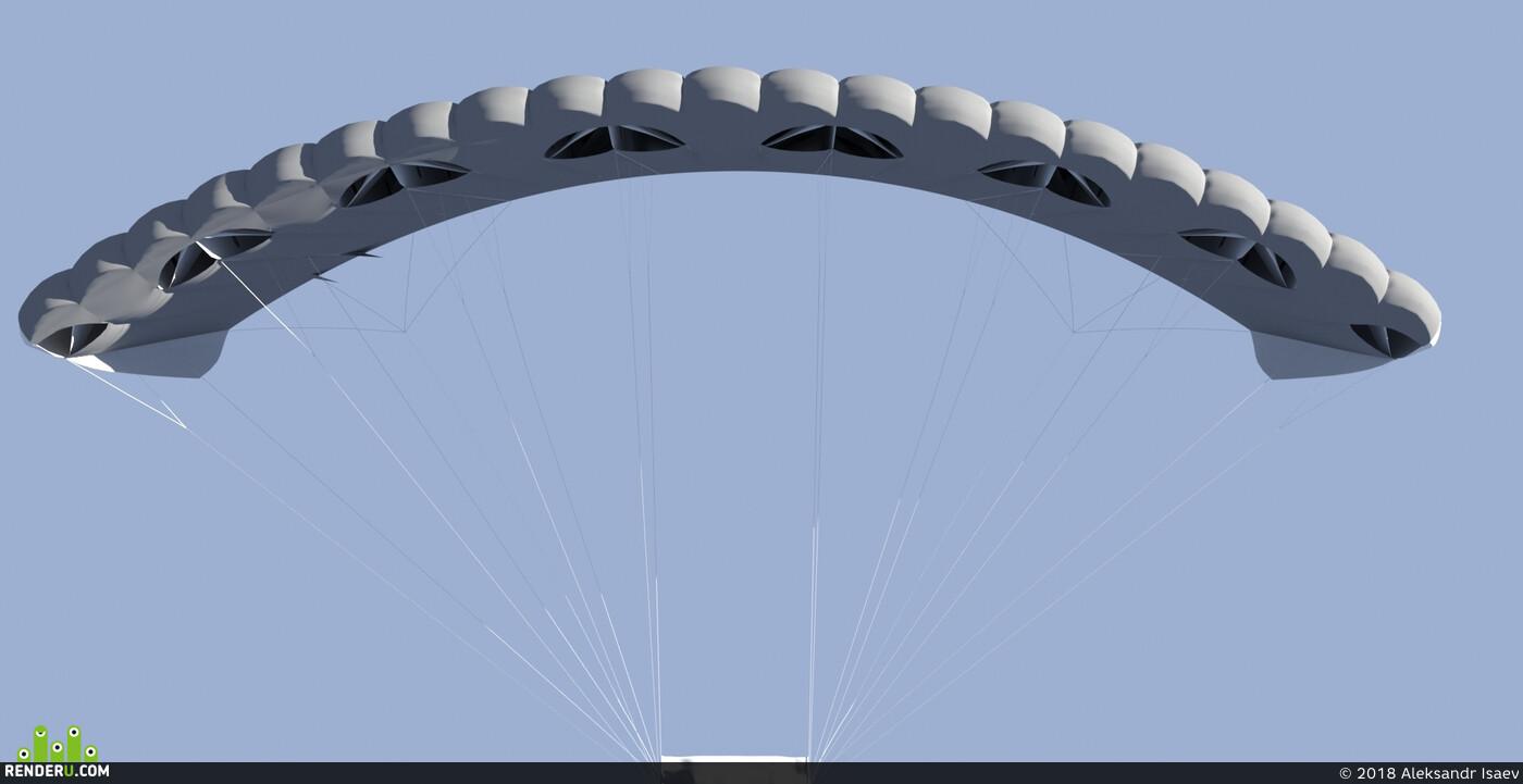 парашют, авиация, авиационное проектирование, 3D Studio Max, 3ds max