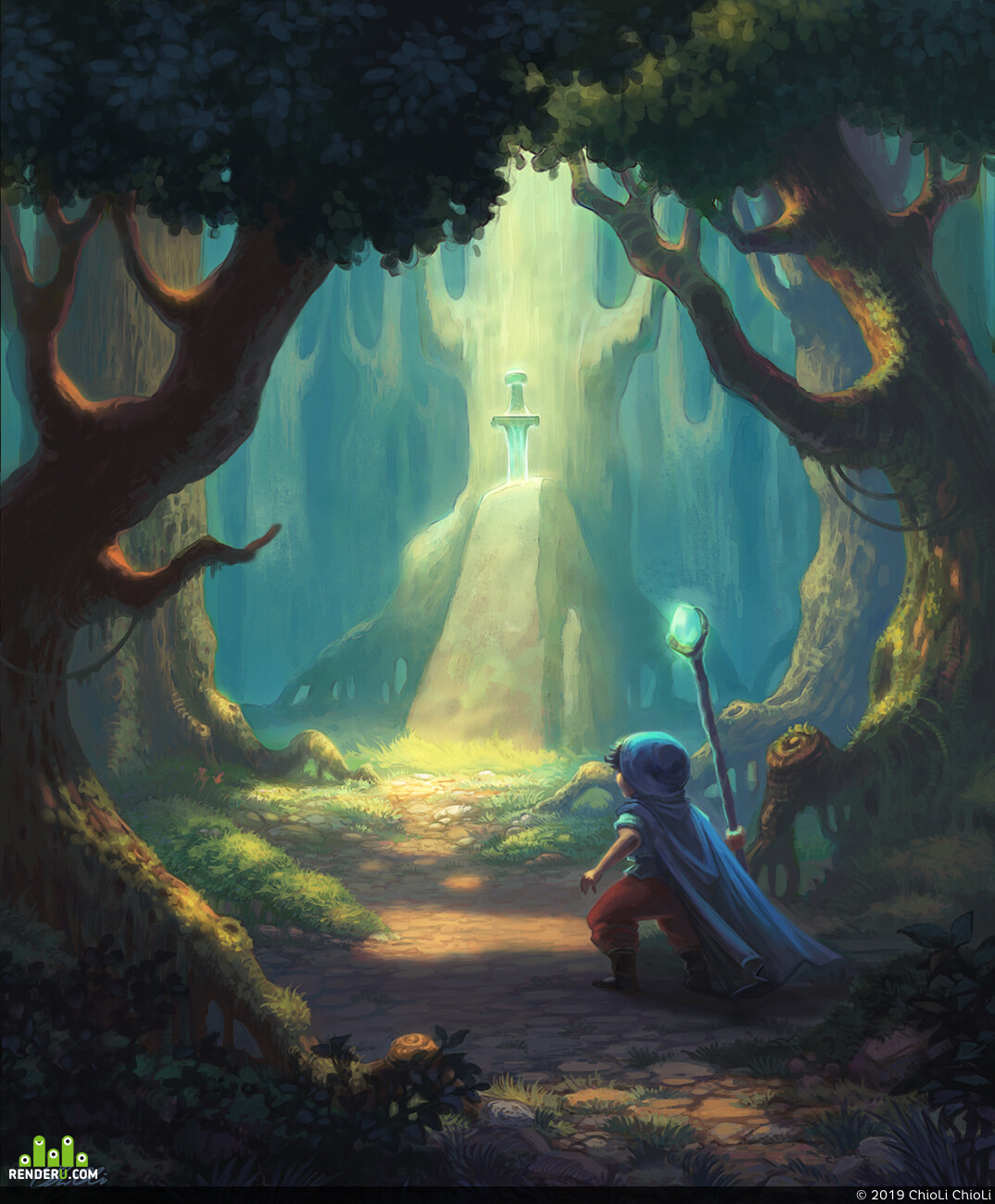 adventures, Fantasy, magic forest, sword in the stone, adventurer, miracle