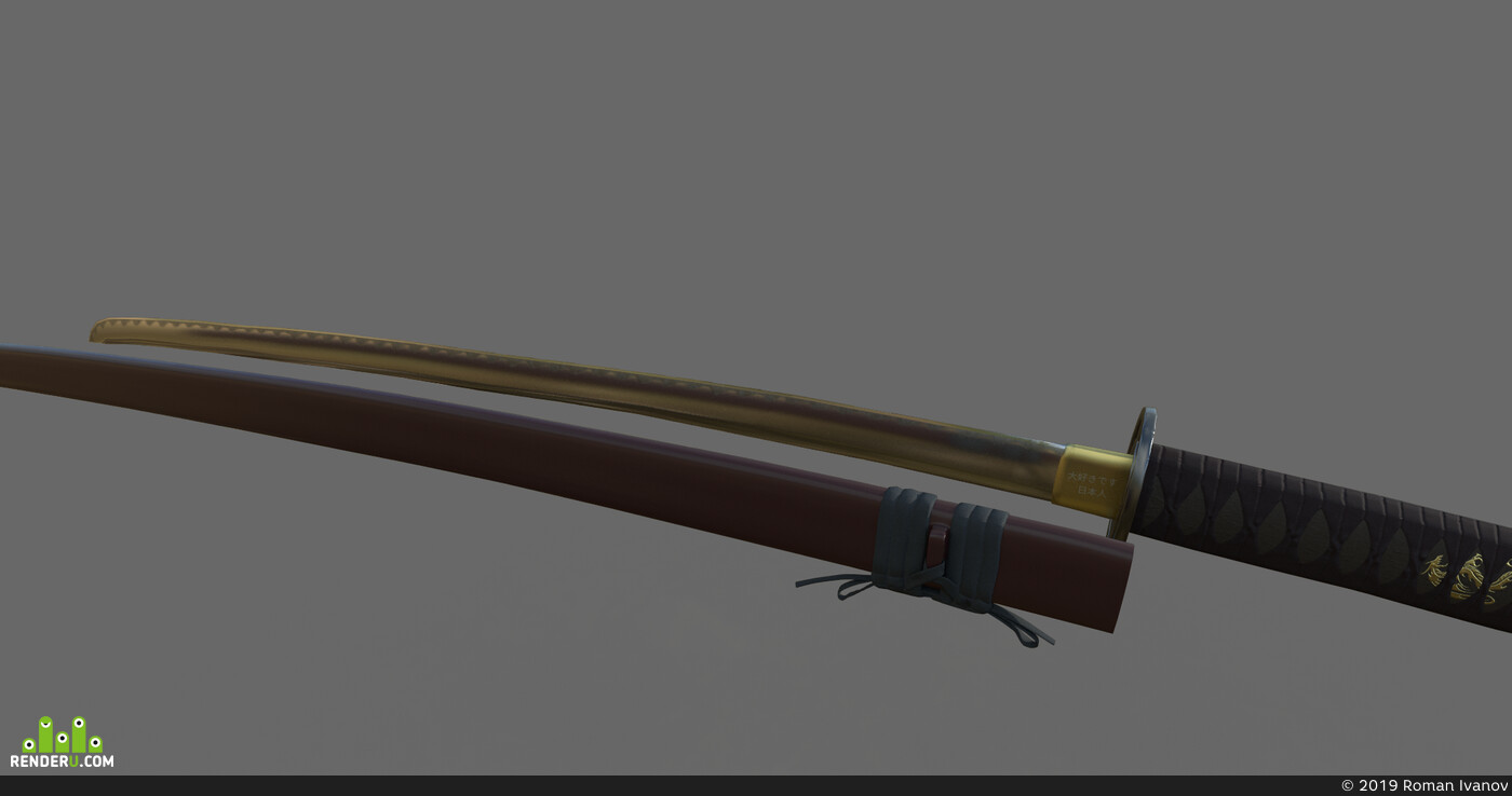 3dmodels, 3d, меч, оружие, Япония, японские мечи