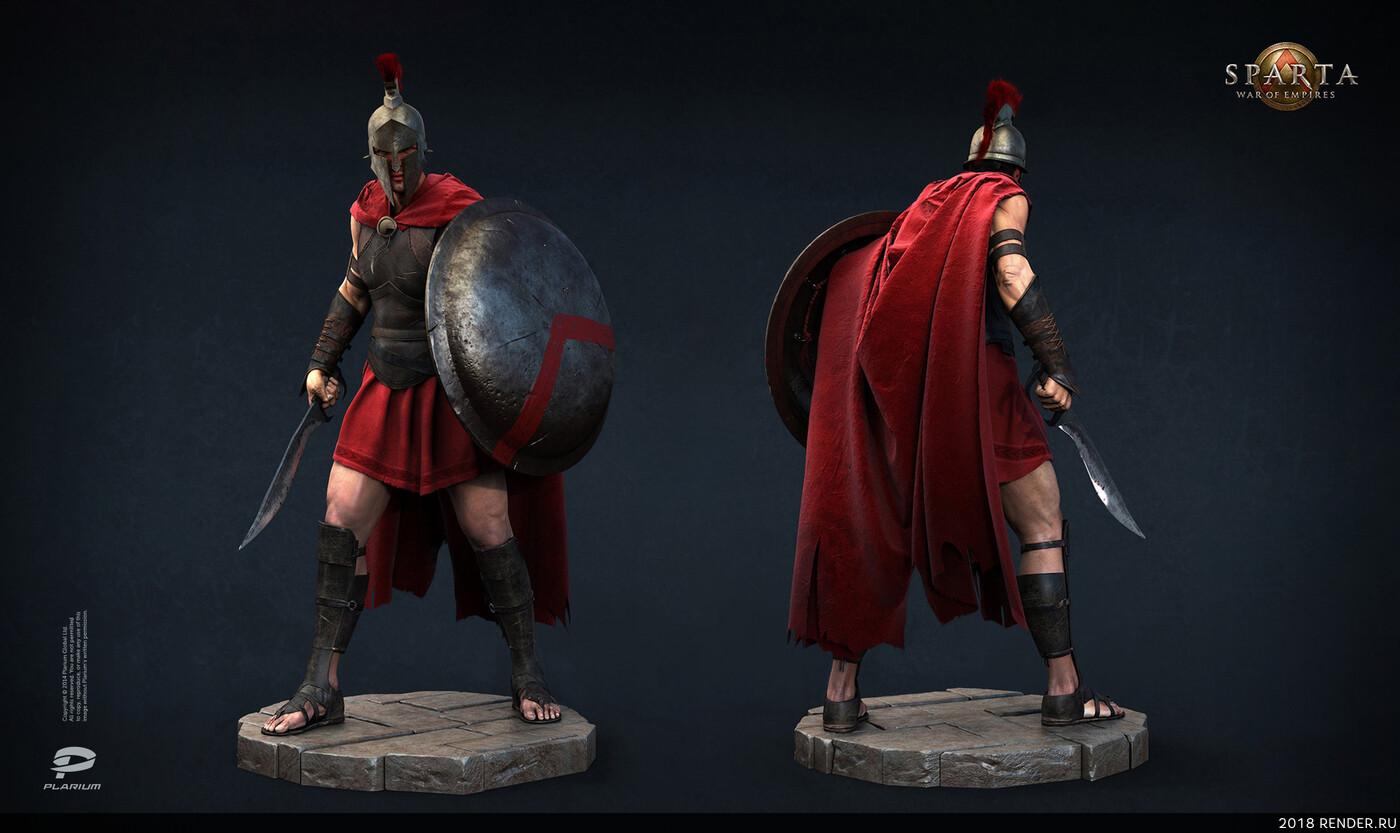 digital 3d, game art, Plarium, Sparta, Greece, warrior