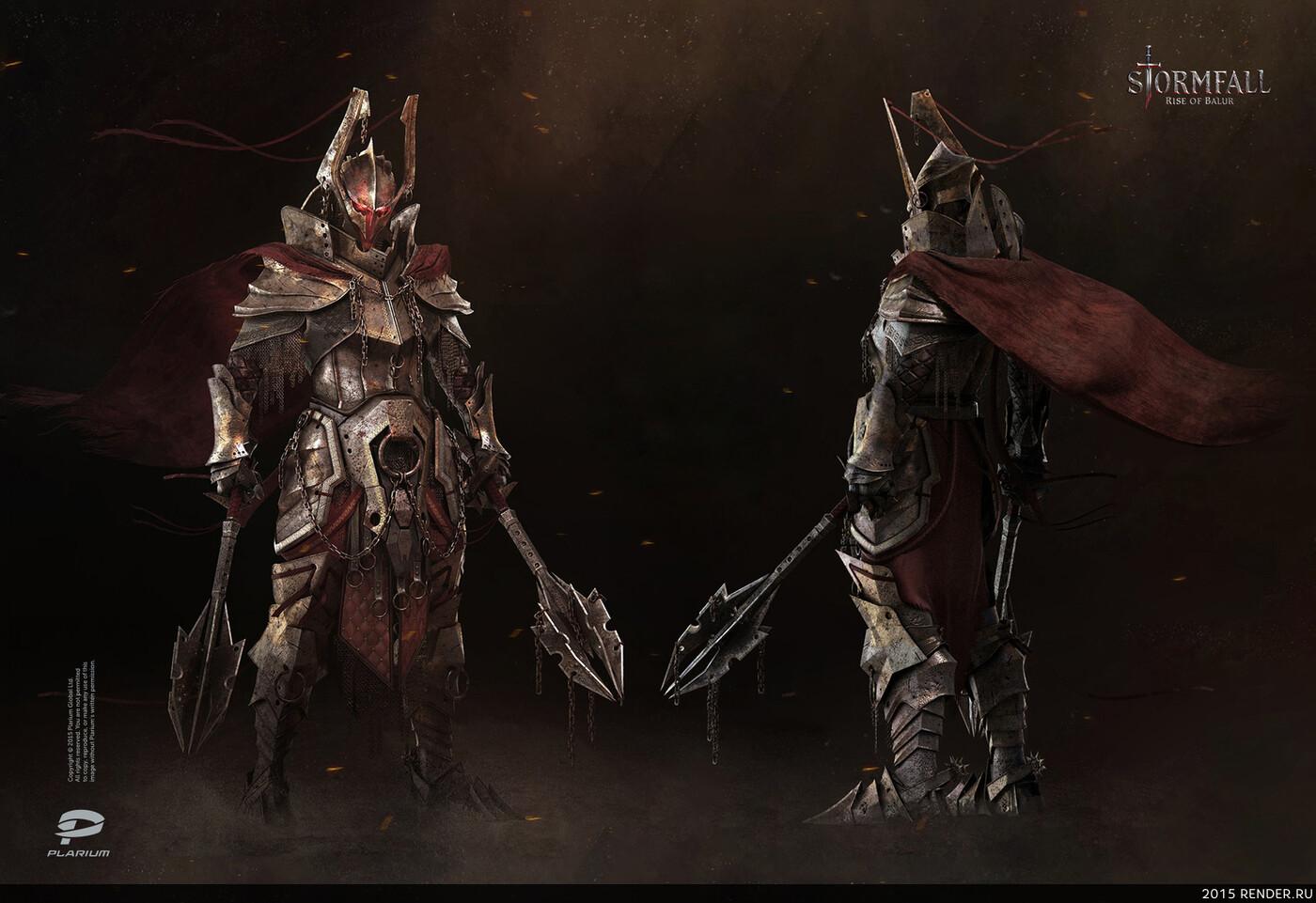 digital 3d, game art, Plarium, Dark fantasy, knight