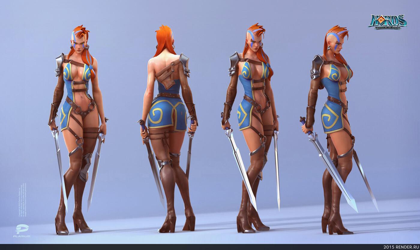 digital 3d, character, design_character, 3d character, girl warrior, Nords, Plarium