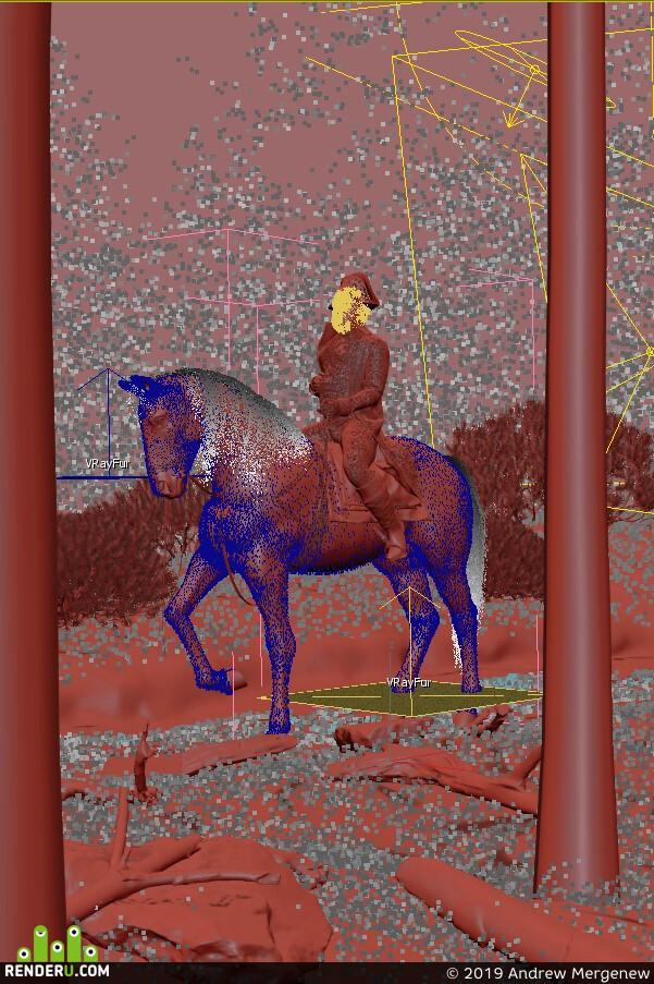 Наполеон, Лошадь, человек, Природа, закат, трава, лес, сосна, Куст, дорога