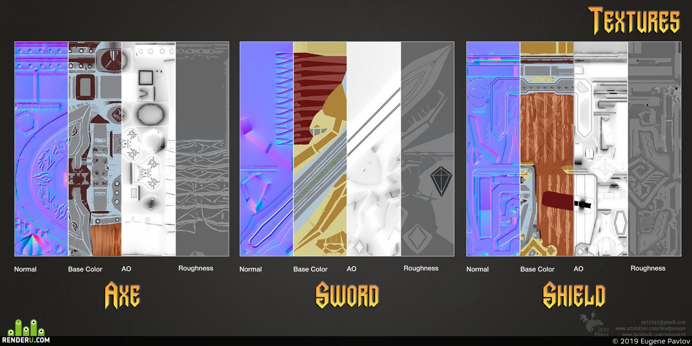 sword, axe, shield, Fantasy