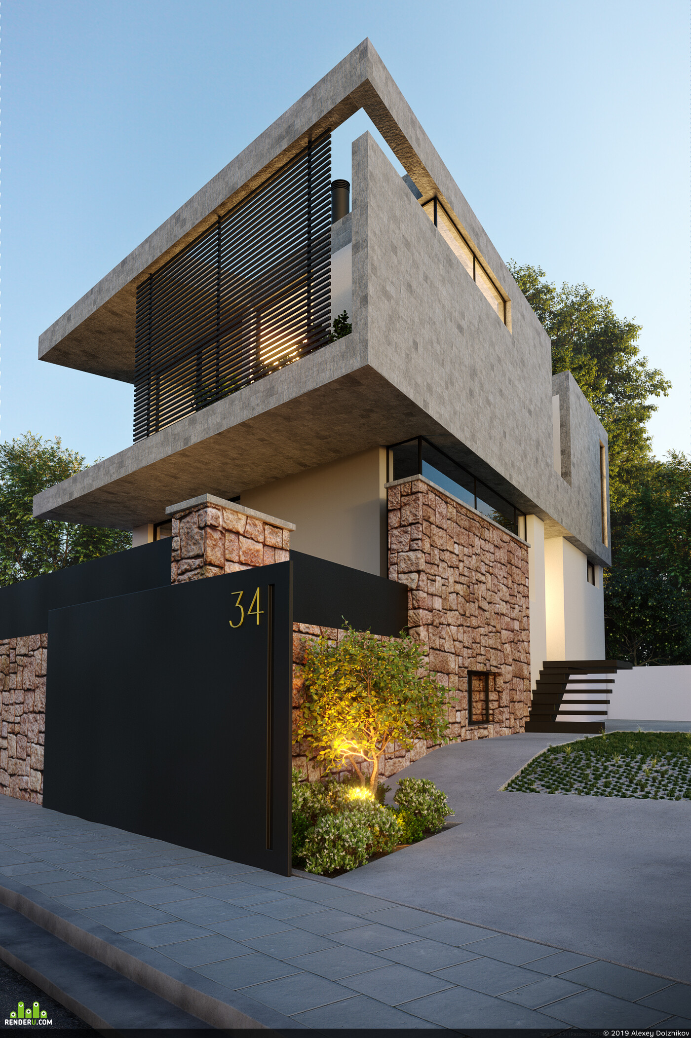 exterior visualization, architectural render, 3ds max, Corona Renderer, house visualization