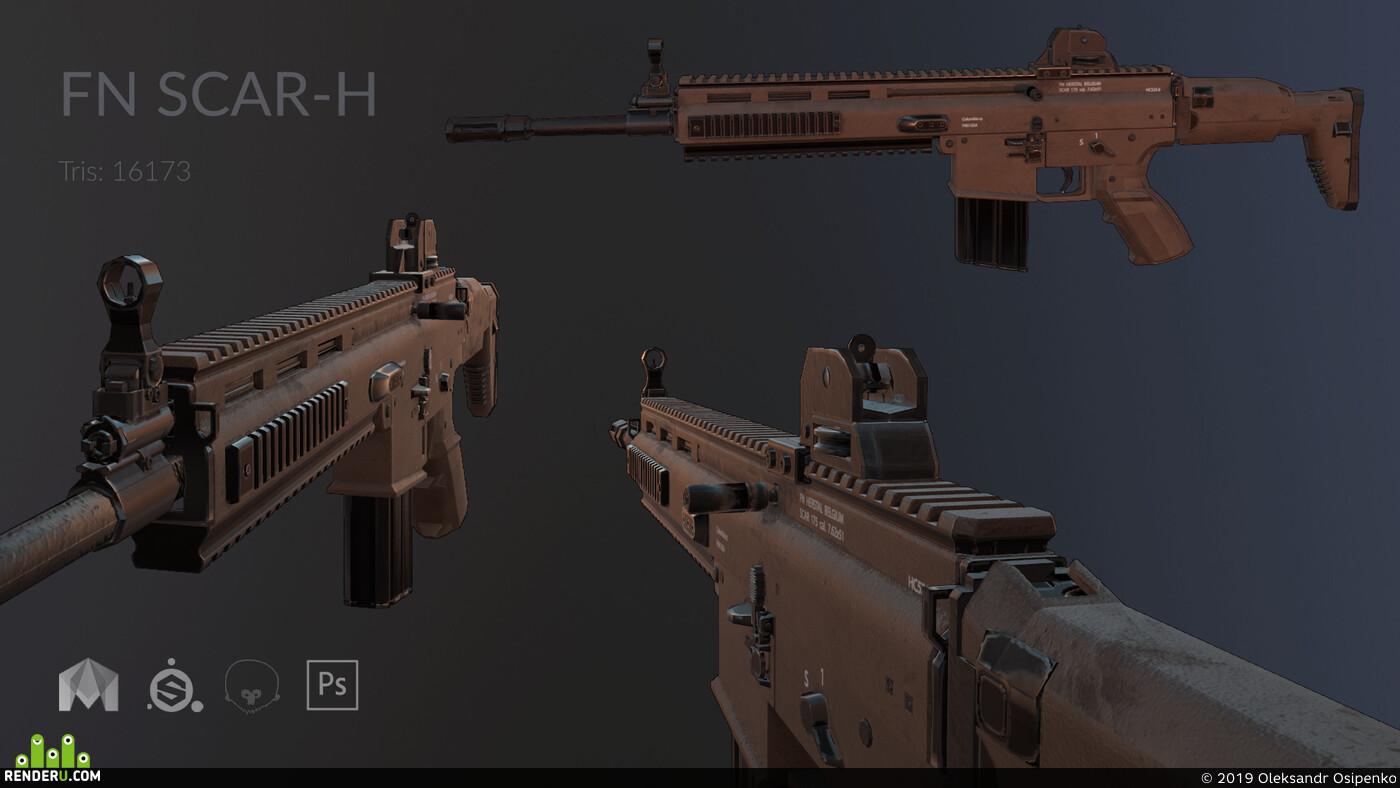 War, Maya, substancepainter, marmoset toolbag, machine gun, Weapons