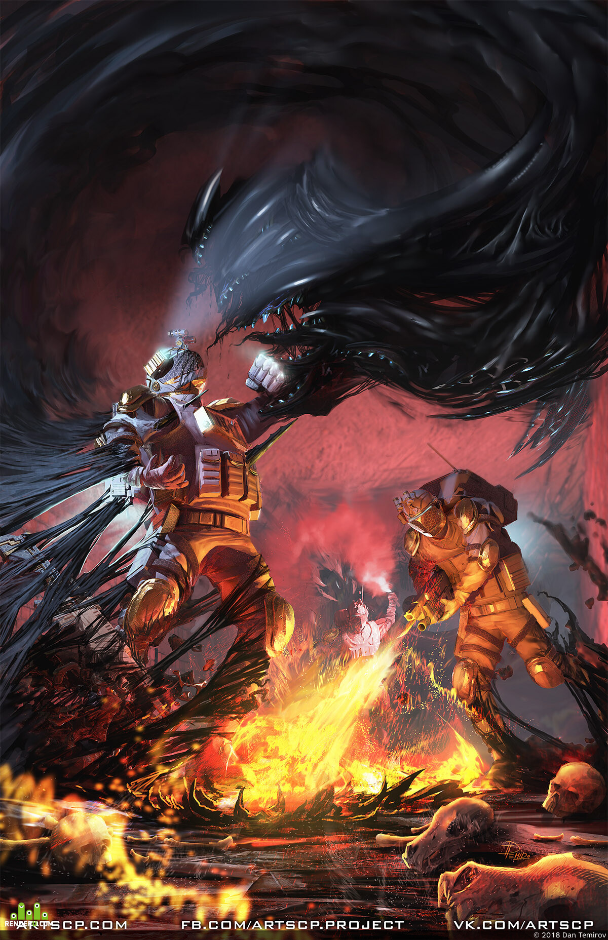 artscp, dantemirov, illustration, design_character, creature, Dark, fire