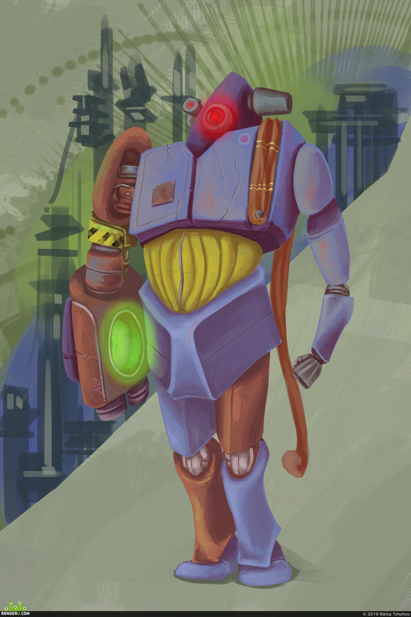 робот, Роботы, мартроботов, 2д эскиз, фотошоп, набросок, скетч, Рендер-арт, концепт, Концепт-арт
