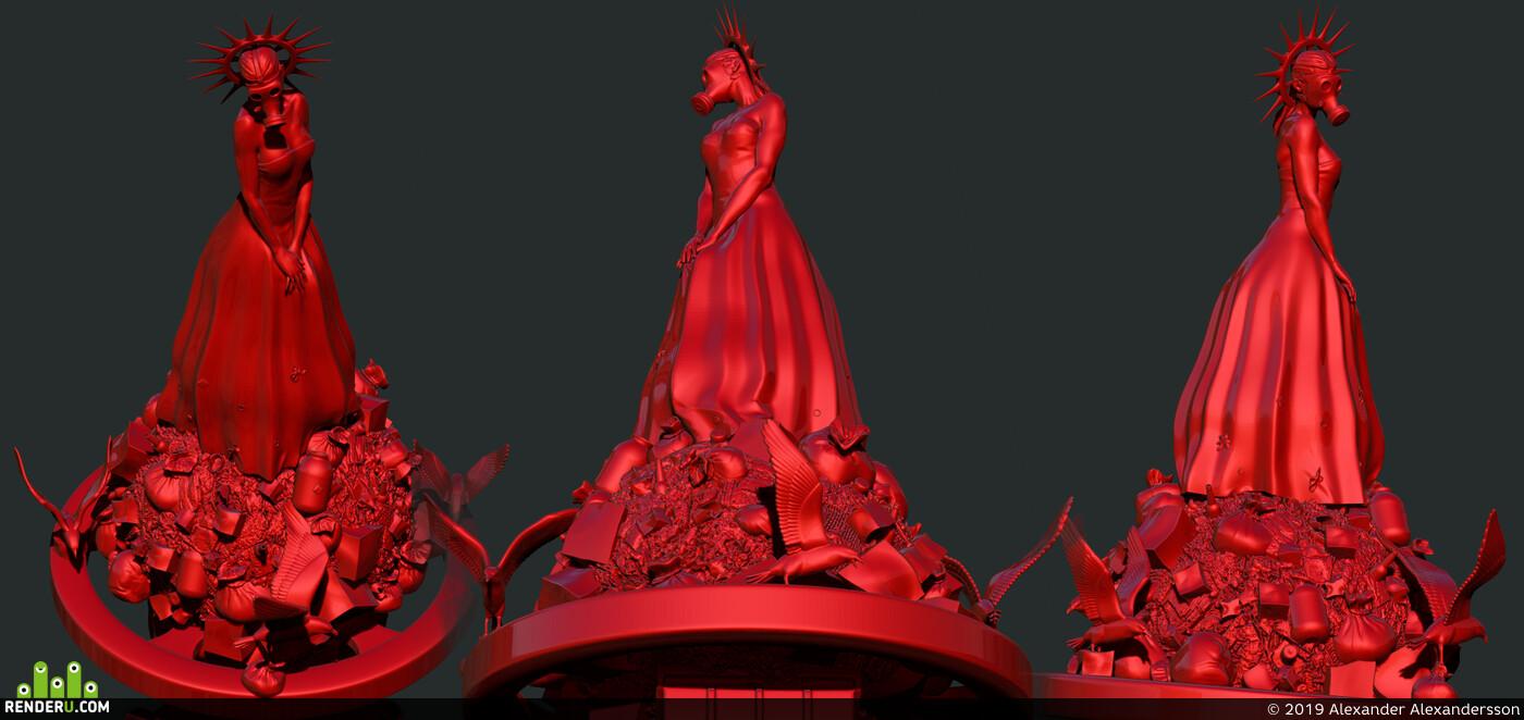 3д модели, 3D Печать, Персонаж, женский персонаж, zbrushsculpt, ZBrush, Blender, збраш, Мадонна, мусор