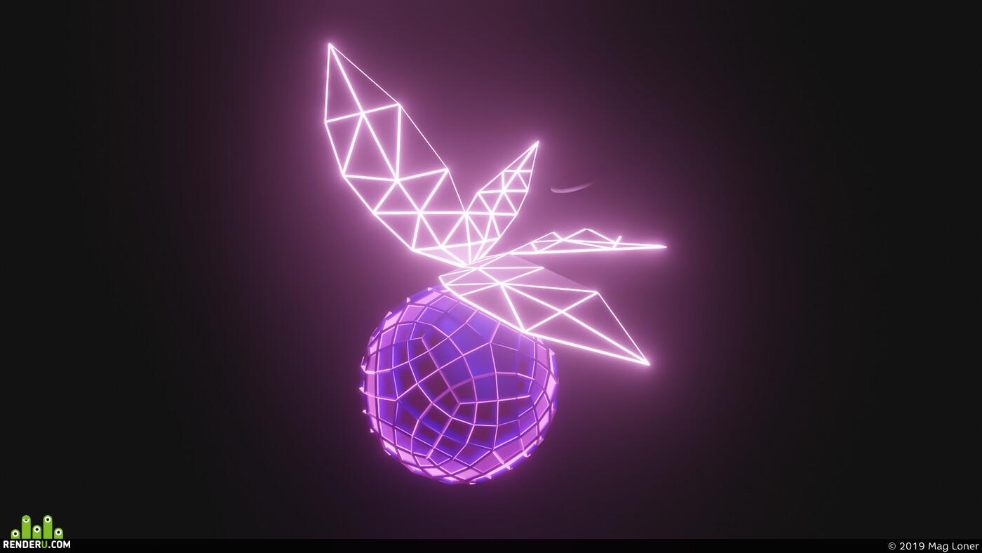 Blender 2.8, арт, бабочка